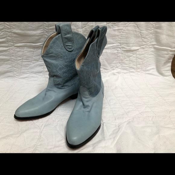 d52087e7d steve fleming Shoes | Ladies Sz 7 Leather Baby Blue Cowboy Boots ...
